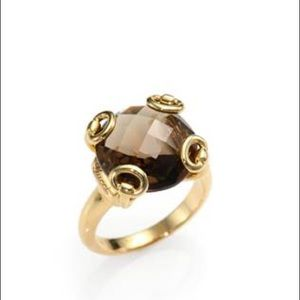 Gucci Horsebit Smoky Quartz 18k Yellow Gold Ring
